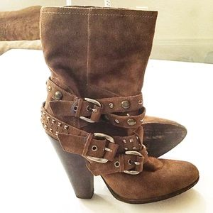 Steve Madden Brown Suede Buckle Accent Boots